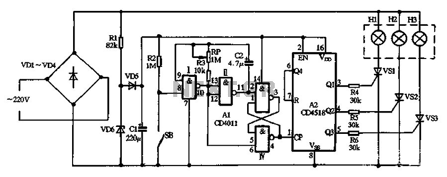 With a CD4011 CD4518 making colorful cycle decorative lights - schematic