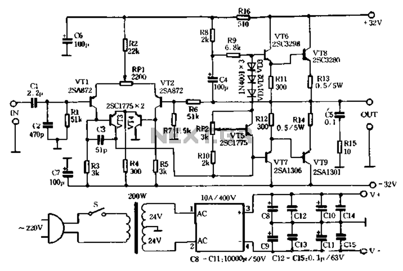 circuit diagram of class ab amplifier