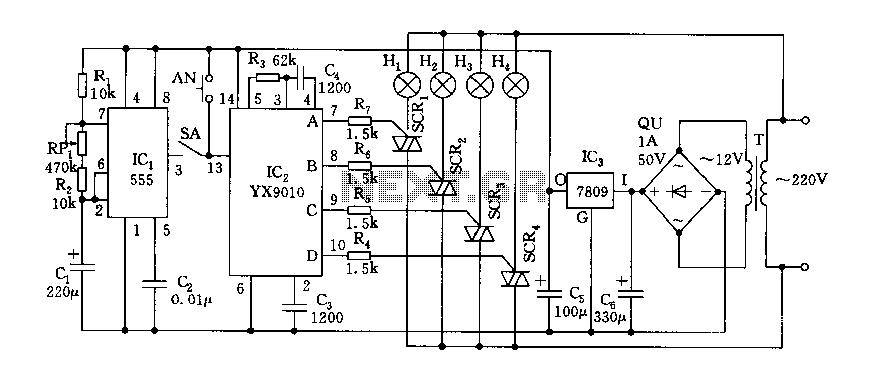 555 Dream lantern control circuit diagram - schematic