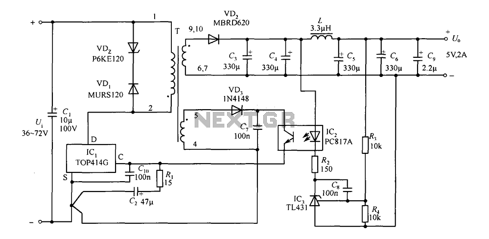 5V TOP414G 2A isolated switching power supply circuit - schematic
