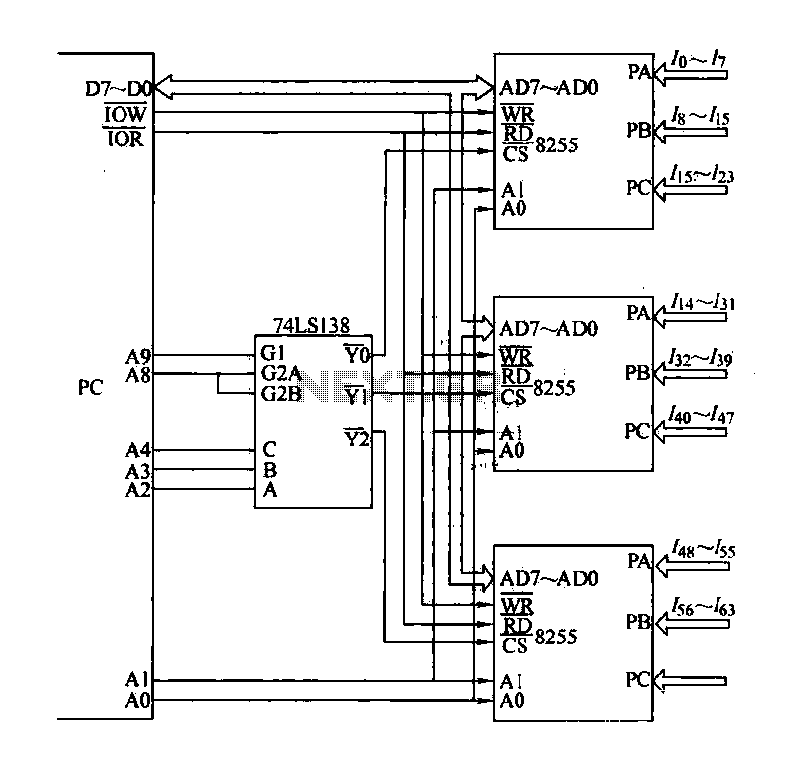 8255 uses 64 input expansion interface circuit - schematic