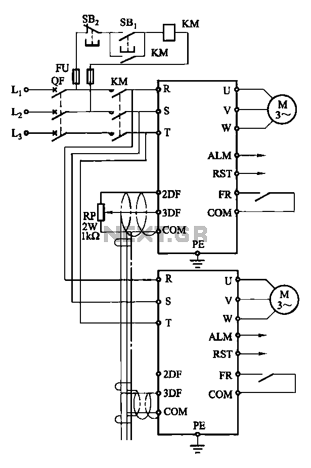A given frequency control multiple motors operating in parallel circuits - schematic