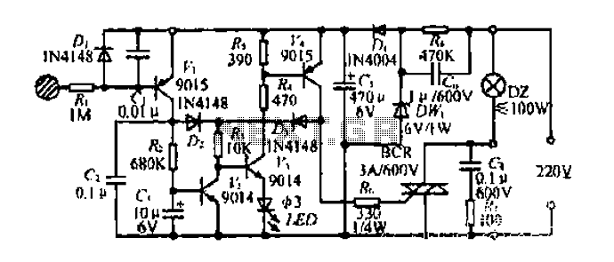 A touch-AC electronic switching circuit - schematic