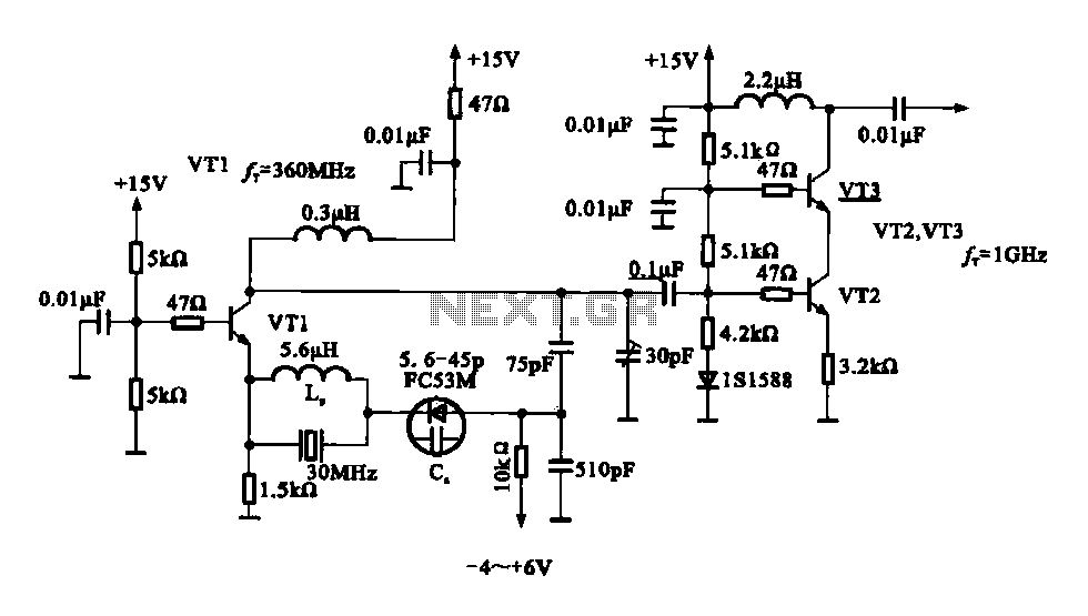 A variable frequency oscillating circuit transistor