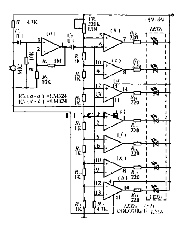 An external audio level display circuit - schematic