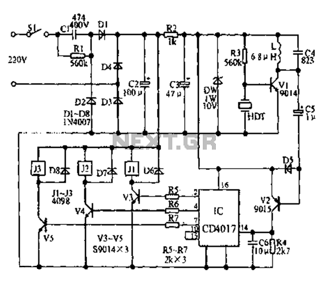 Asia ultrasonic remote control fan speed control circuit diagram - schematic