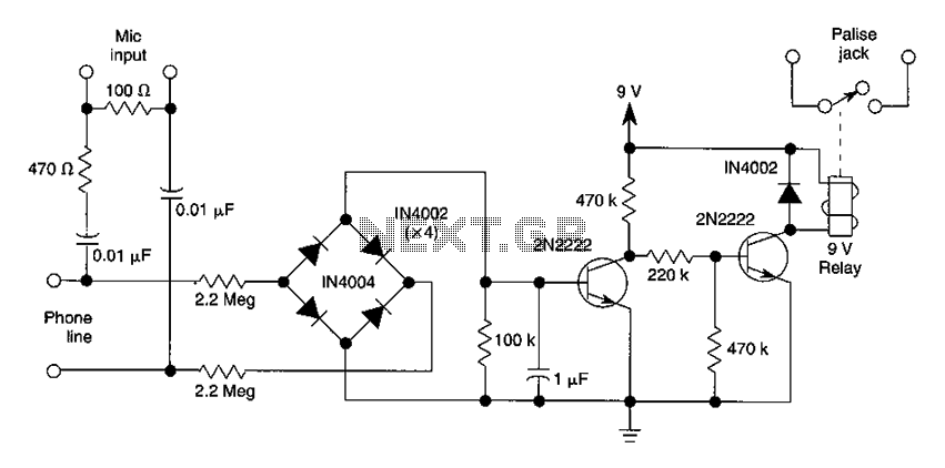 Automatic telephone call recording circuit - schematic