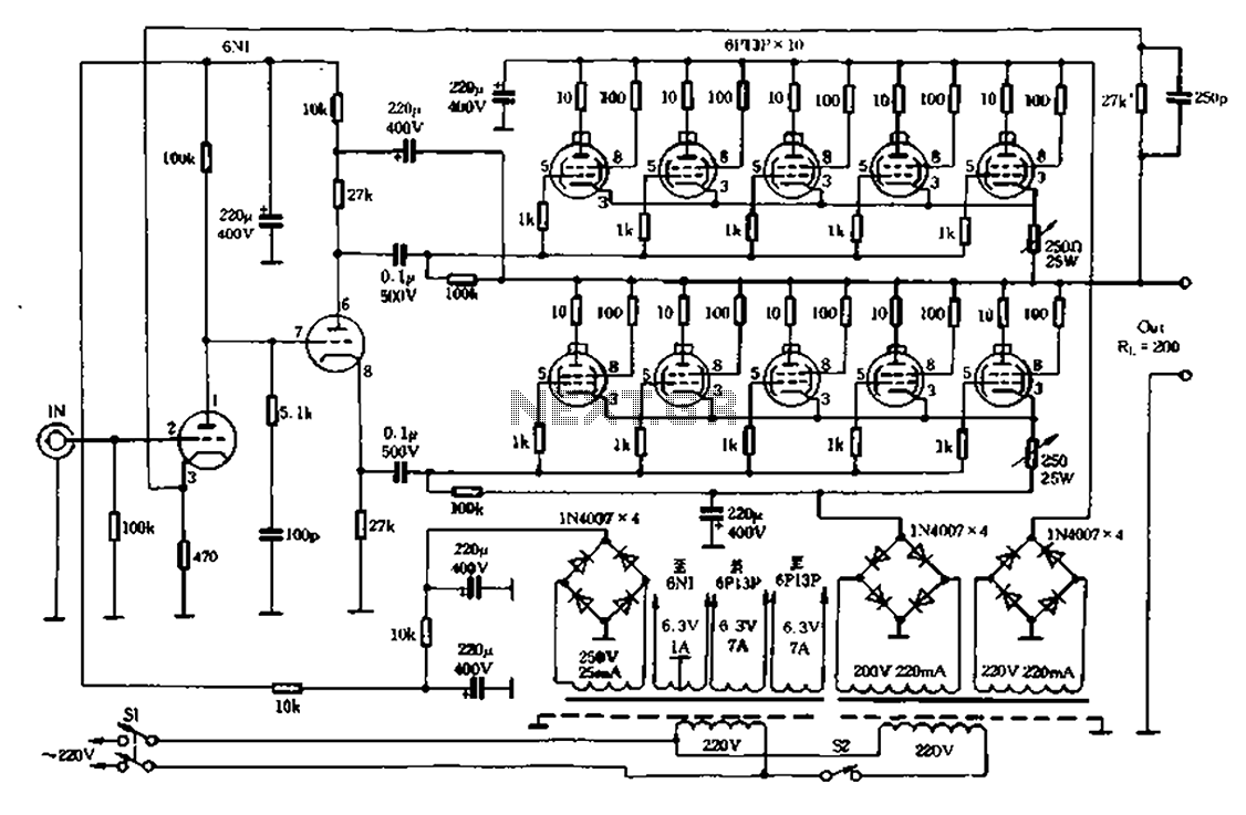 Vacuum Tube Valve Circuit Audio Circuits 300watt Subwoofer Power Amplifier Wiring Diagram Electronic Schematic Both Otl 01 Electrical