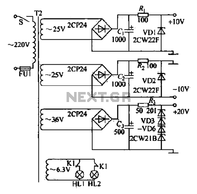 CF1 CF2 DC power supply circuit - schematic