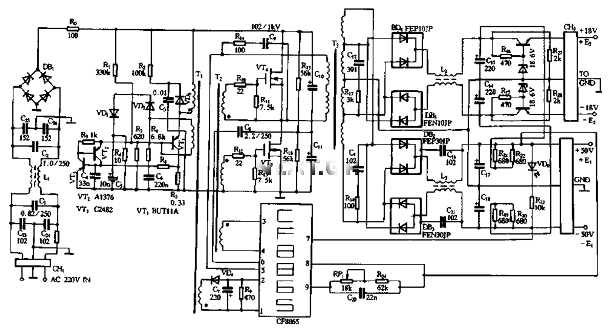 CF8865 module using dedicated switching power supply circuit diagram - schematic