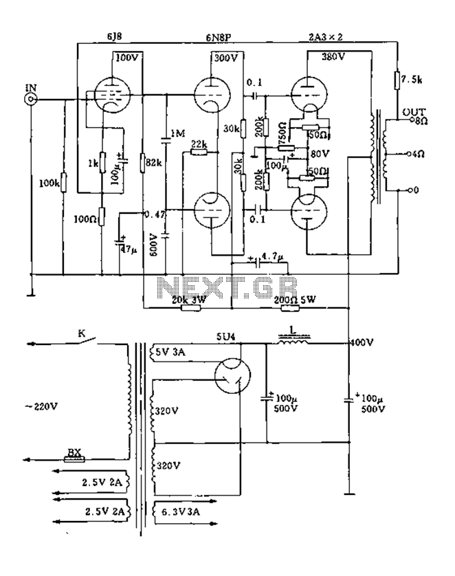 Class push-pull tube power amplifier circuit diagram 2A3A - schematic