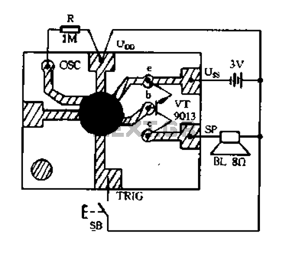 Constantly changing light and sound analog controller circuit 01 - schematic