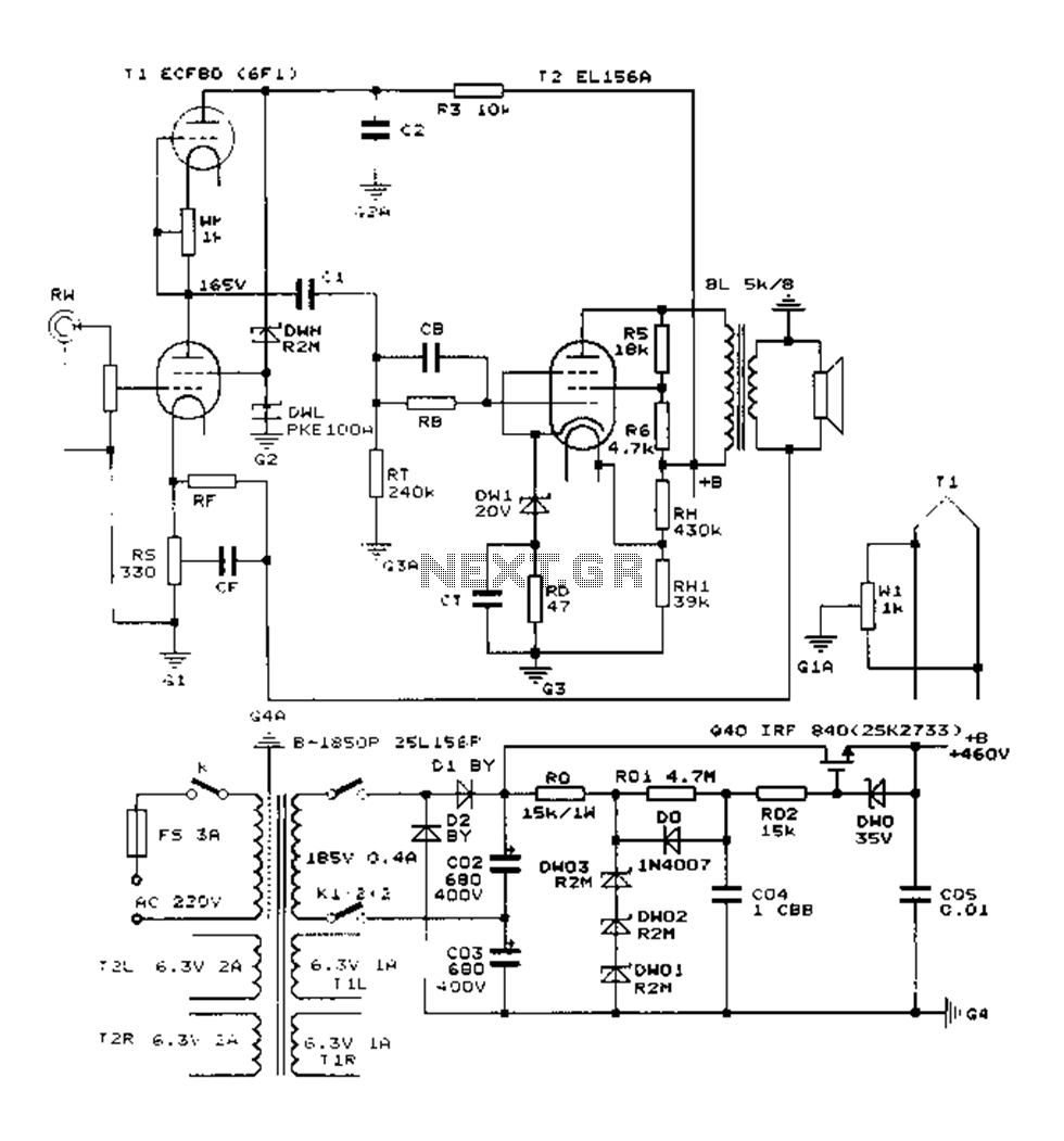 Construction 25W single-ended Class A tube amp circuit diagram EL156 -  schematic