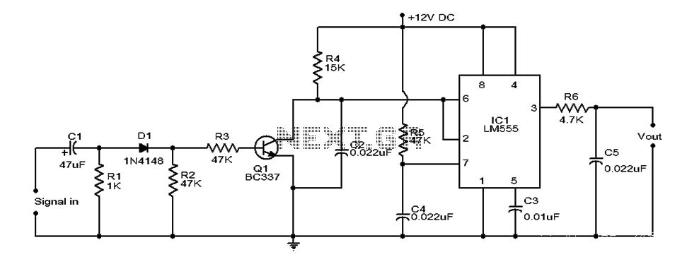 Conversion using LM555 timer circuit diagram - schematic
