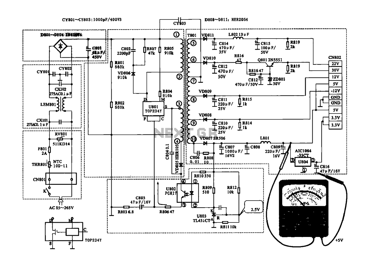 Coship CDVB3188V receiver switching power supply circuit - schematic