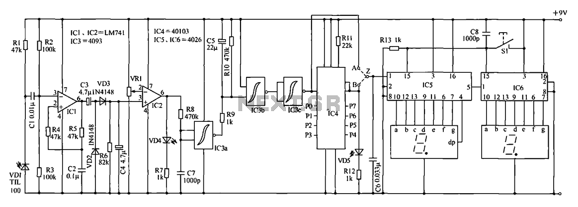 Counter circuit diagram of the digital circuit - schematic