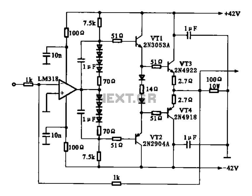 Current amplifier circuit configuration - schematic