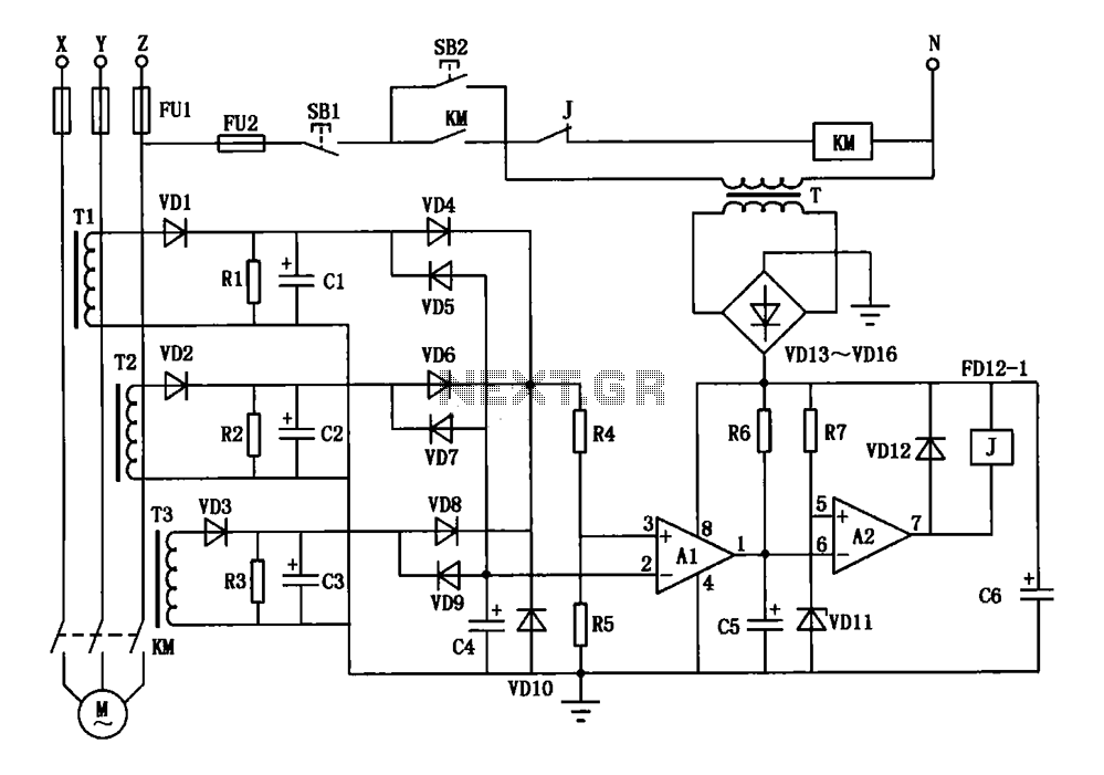 automations \u003e motor control circuits \u003e current three phase motor rh next gr 208 3 phase motor wiring current three phase motor phase protection circuit diagram schematic
