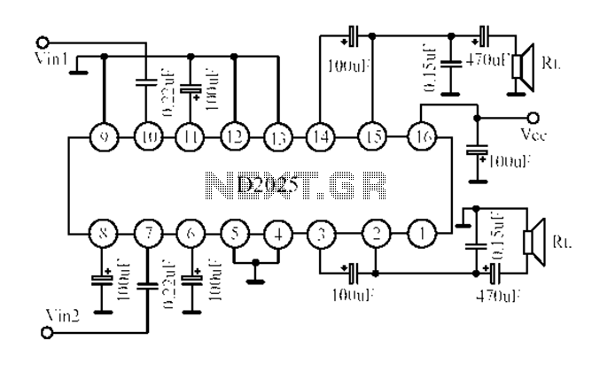 D2025 dual-channel audio amplifier circuit diagram - schematic