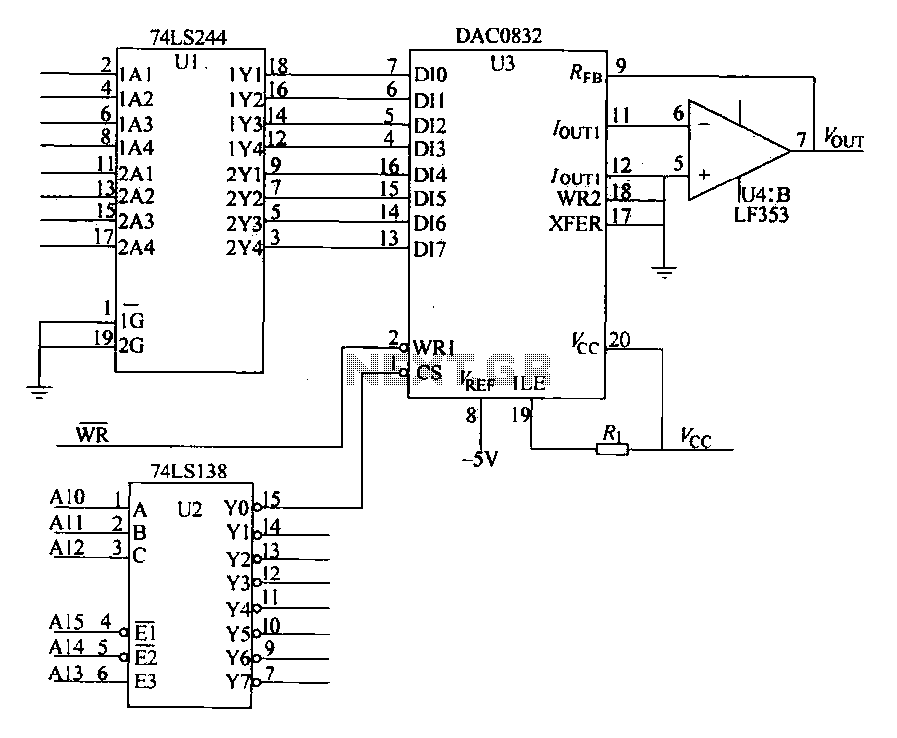 DAC0832 interface circuit with the 8-bit CPU