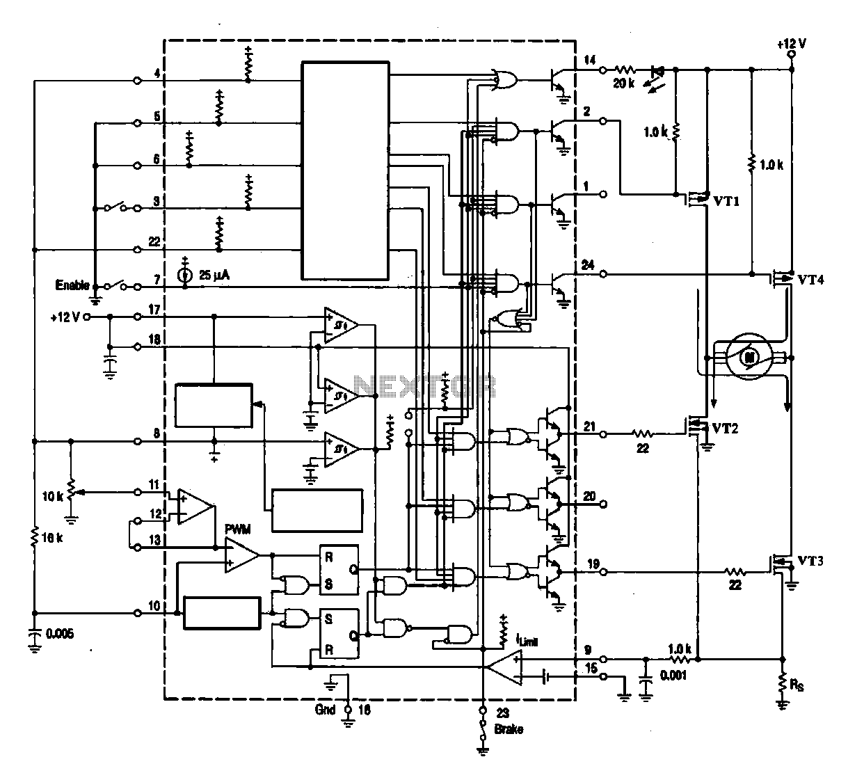 DC brush motor driver circuit diagram - schematic