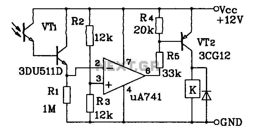 Darlington phototransistor type light-triggered circuit diagram of a switching application - schematic