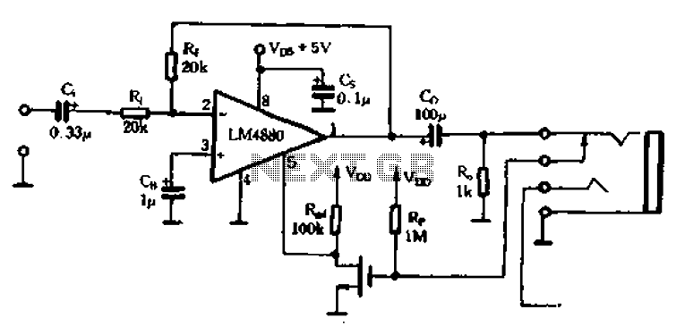 Dedicated headphone amplifier integrated amplifier LM4880-02 - schematic