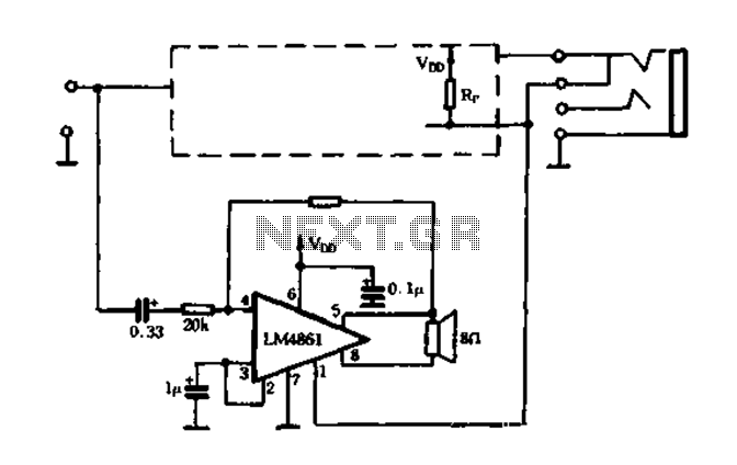 Dedicated headphone amplifier integrated amplifier LM4880-03 - schematic
