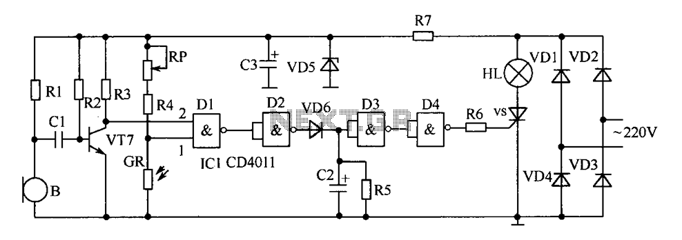 Delay circuit diagram of energy-saving lamps - schematic