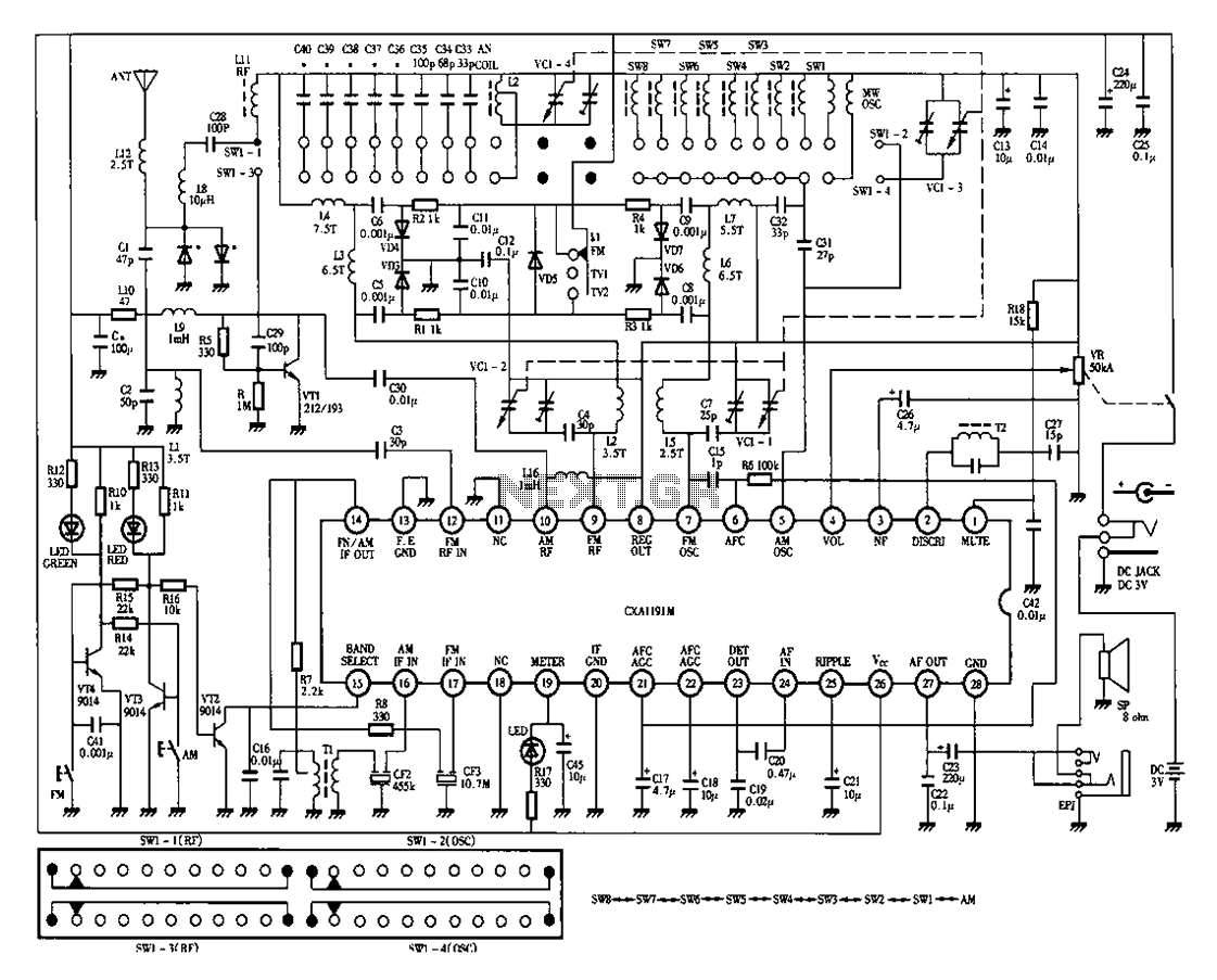 Desheng 1012 12-band television sound radio circuit diagram