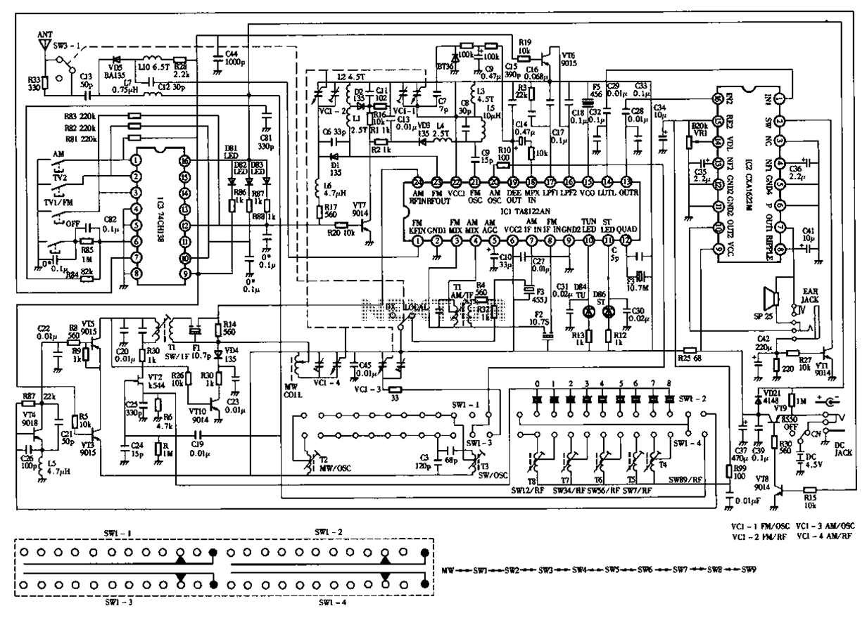 Desheng 119 700 High sensitivity l2-band stereo radio circuit diagram - schematic