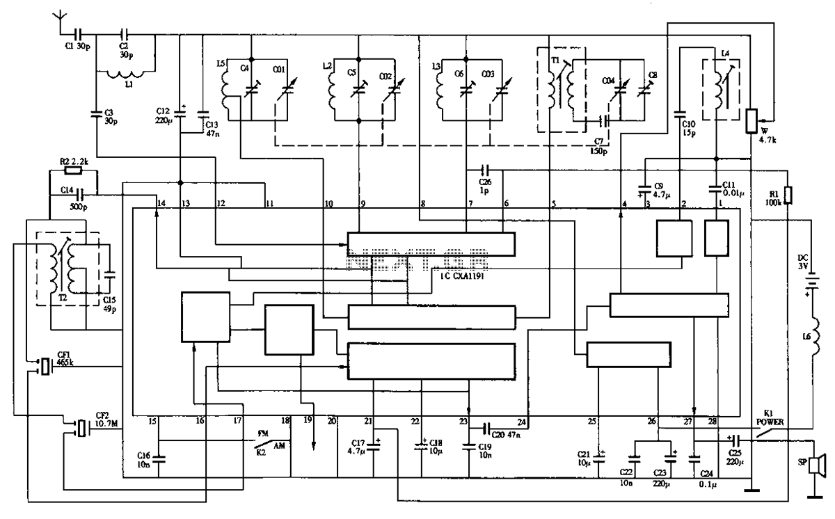 Desheng R-202T type two-band radio circuit diagram - schematic