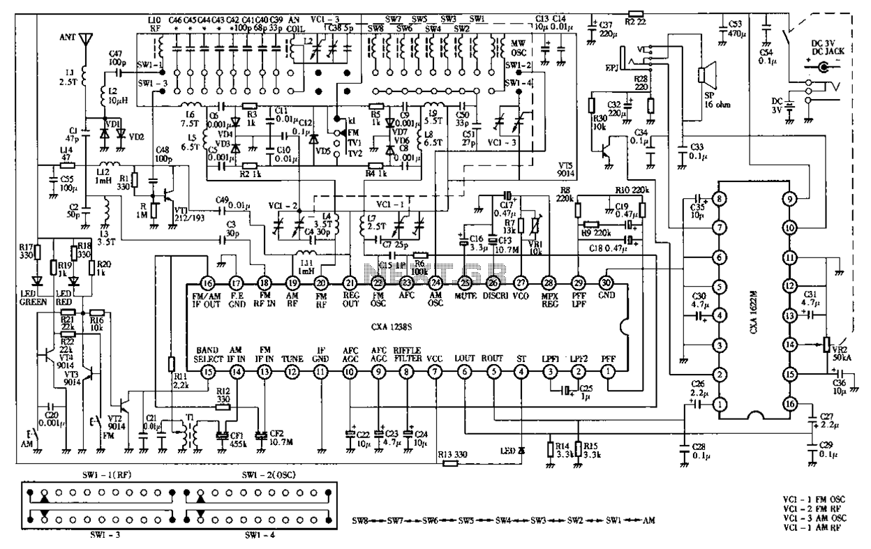 Desheng Rl212A 12-band stereo radio circuit diagram - schematic