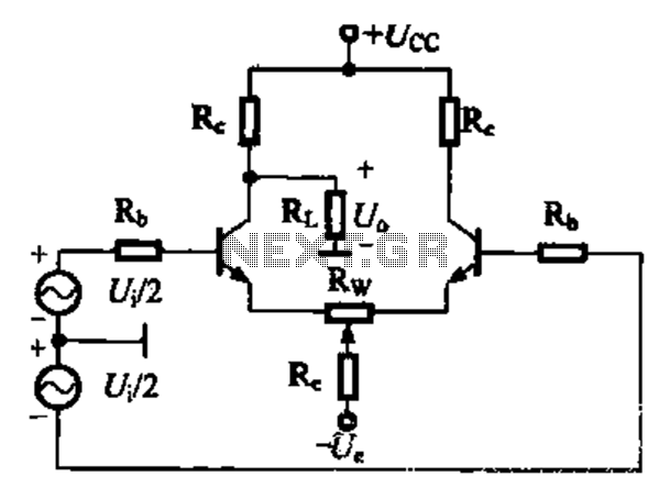 Differential amplifier circuit four connection methods and features comparison b - schematic