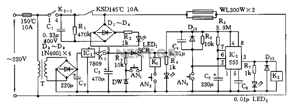 Disinfection cabinet electronic control circuit diagram
