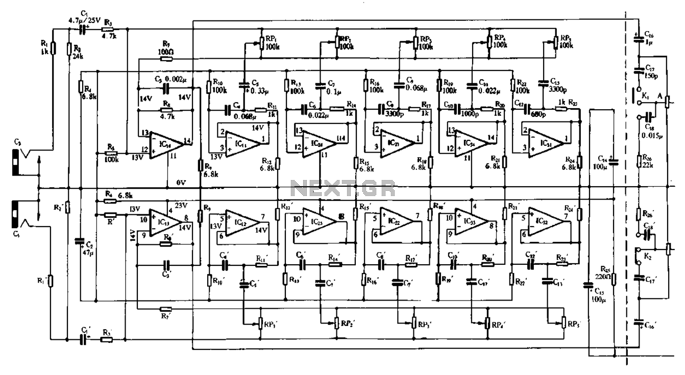 Equalizer Circuit Audio Circuits Integrated Amplifiercircuitsaudio Amplifiercircuit Double Five Band