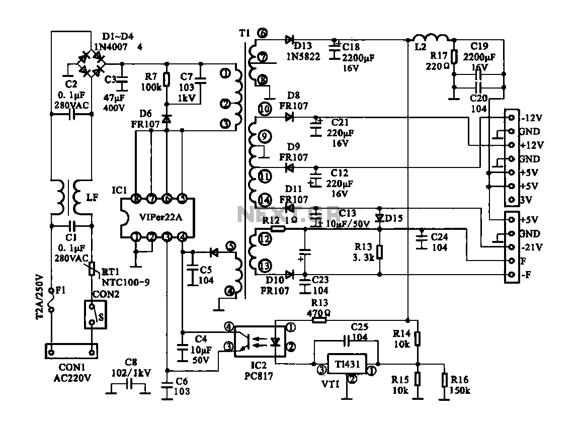 Dragon -ZL-2801A DVD machine type switching power supply circuit - schematic