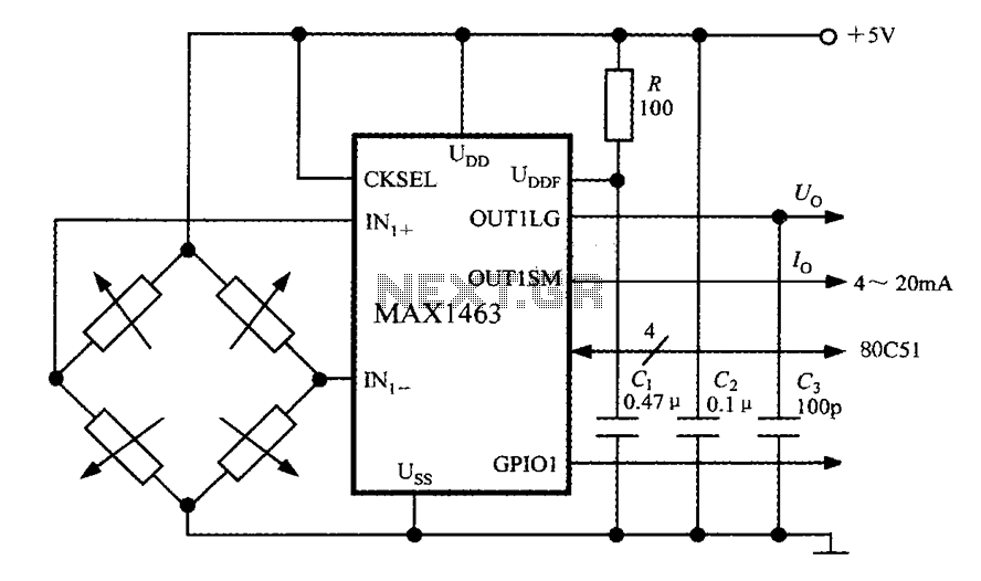 Intelligent sensor signal processor configured MAX1463 precision pressure detection circuit