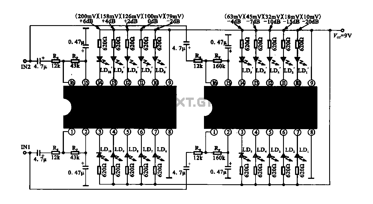 Dual drive ICs 10LED level meter circuit - schematic