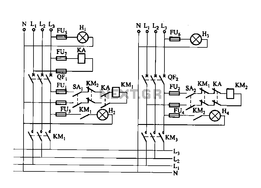 Dual power contactor automatic recovery circuit - schematic