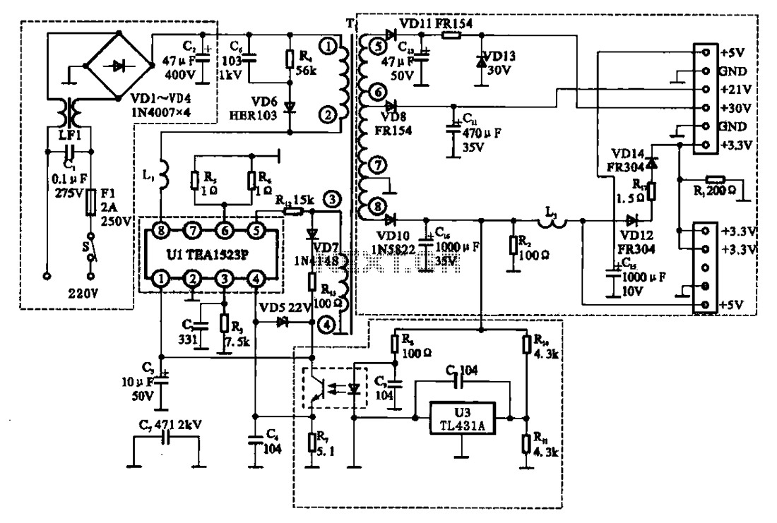East Shi IDS-2000F STB switching power supply circuit - schematic