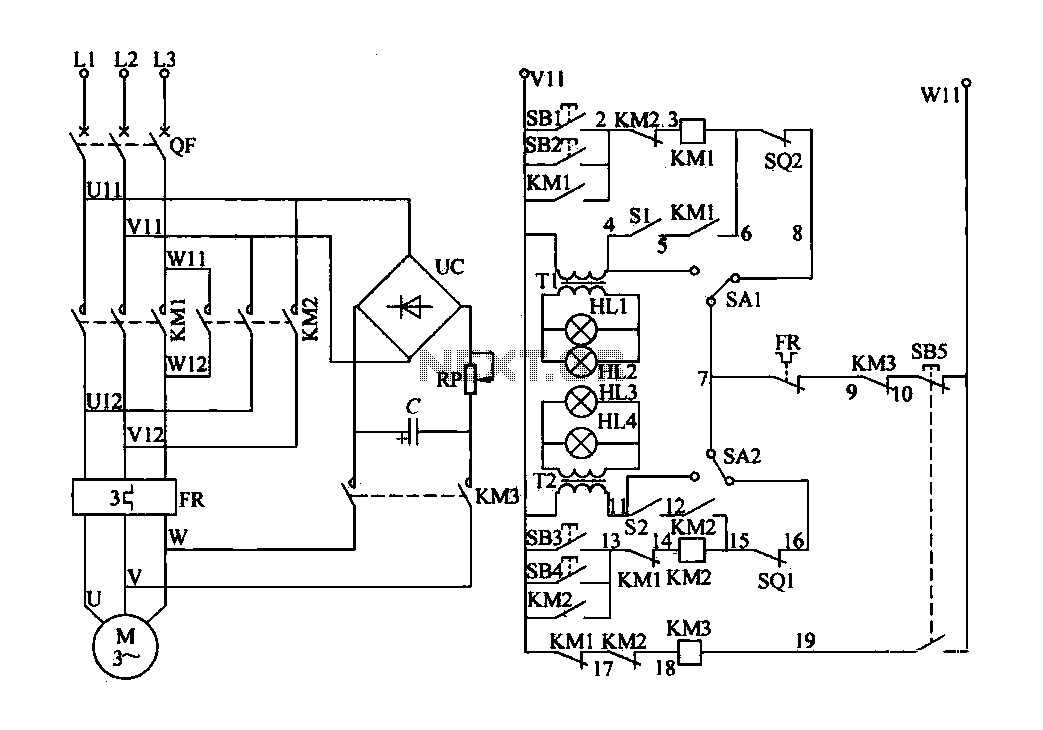 Electric valve motor control circuit - schematic