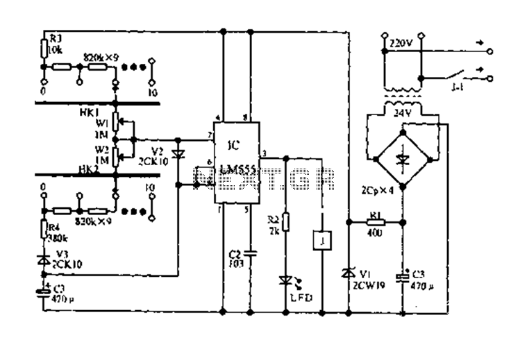Electrical circuit diagram cycled on and off timer - schematic