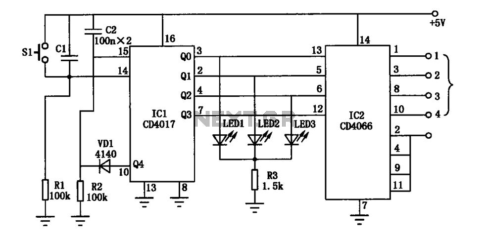 Electronic CD4017 CD4066 the switch circuit diagram - schematic