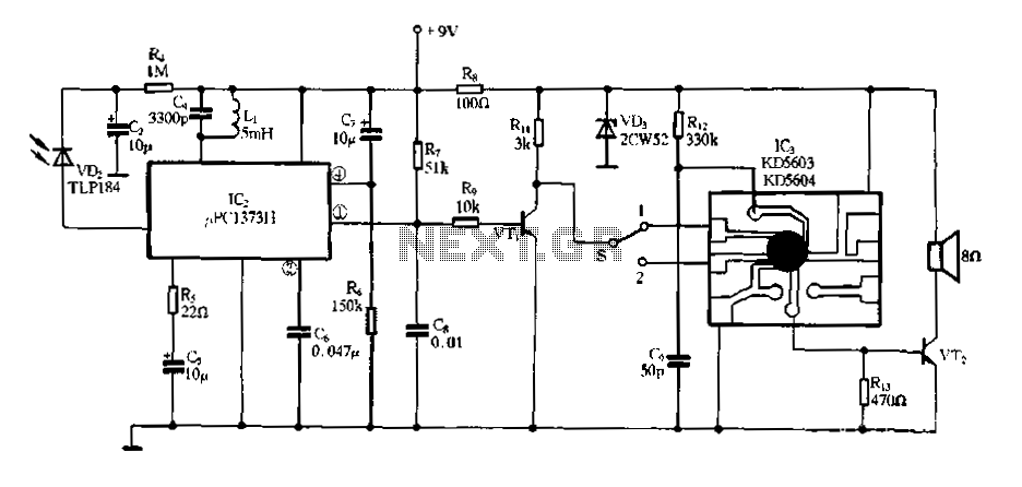 Electronic Miss Manners infrared receiver and voice circuits - schematic