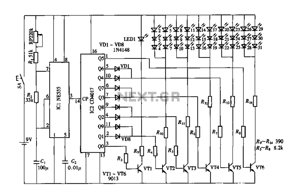 Electronic Peacock by the CD4017 NE555 circuit diagram consisting of the opening screen - schematic