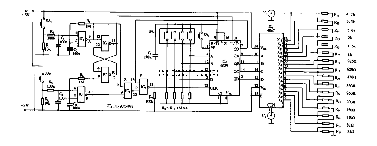 Electronic potentiometer circuit composed of digital circuits - schematic