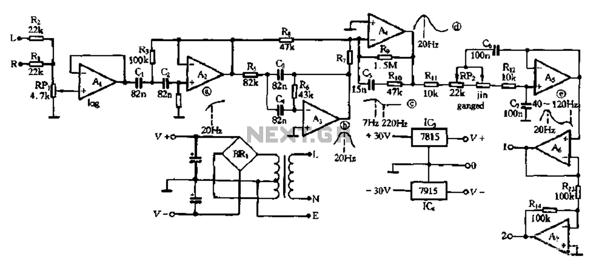 Electronic type bass equalization circuit - schematic