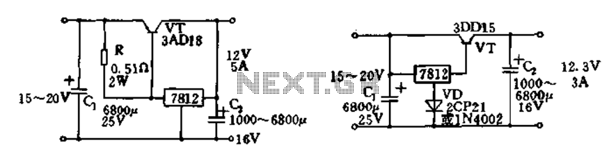 Expand integrated three-terminal regulator block circuit output current method - schematic