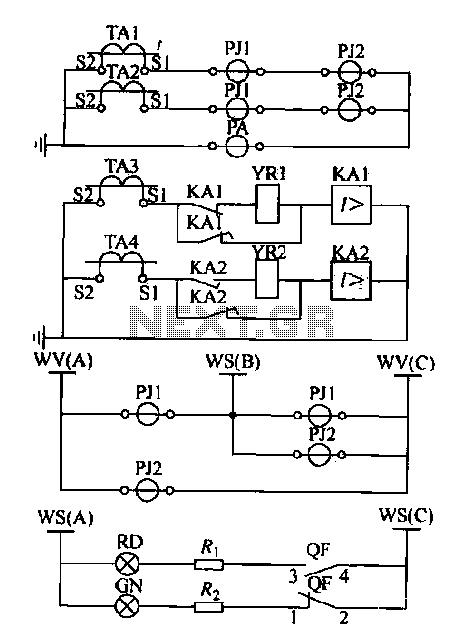 Expanding schematic circuit secondary circuit high-voltage lines